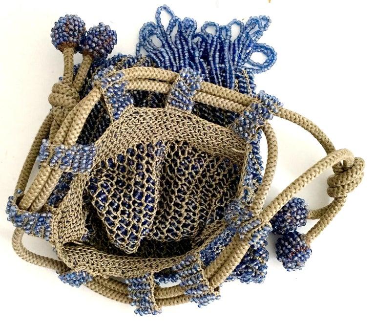 Antique Hand Cut Art Glass Bead Crochet Drawsting Evening Bag For Sale 8