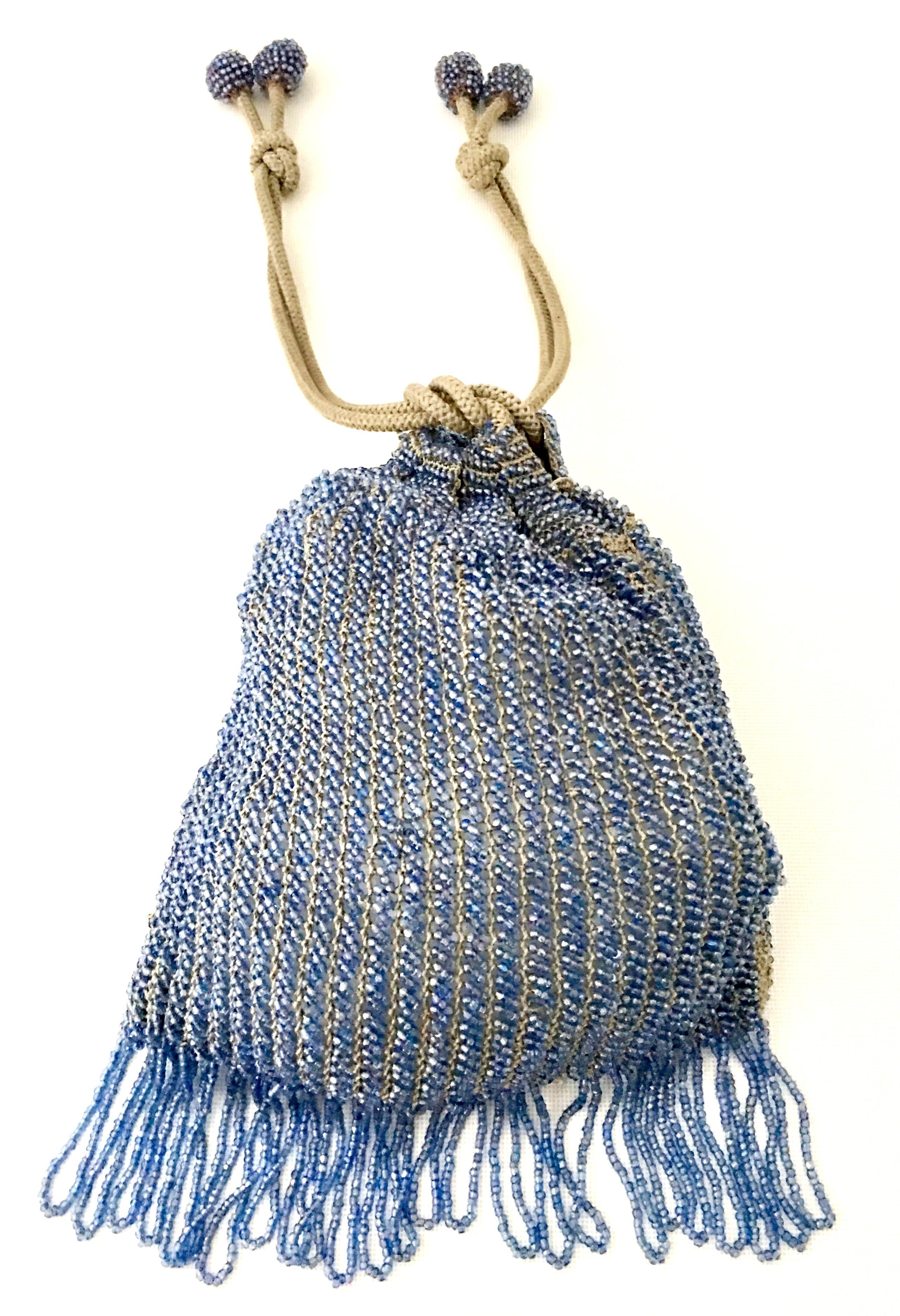 Antiques Antique Tan Geometric Crochet Knit Lime Green Bead Ball Handle Flapper Purse