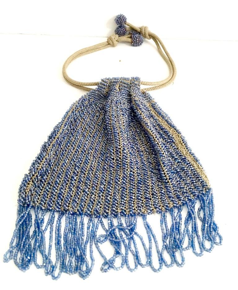Gray Antique Hand Cut Art Glass Bead Crochet Drawsting Evening Bag For Sale
