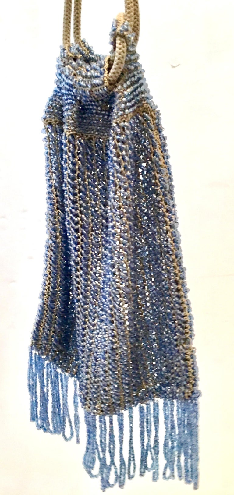Antique Hand Cut Art Glass Bead Crochet Drawsting Evening Bag In Good Condition For Sale In West Palm Beach, FL