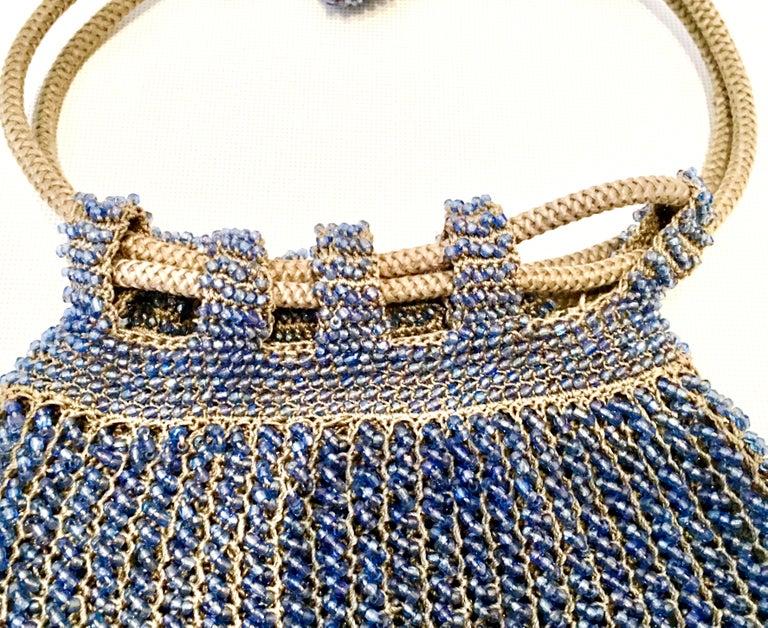 Women's or Men's Antique Hand Cut Art Glass Bead Crochet Drawsting Evening Bag For Sale