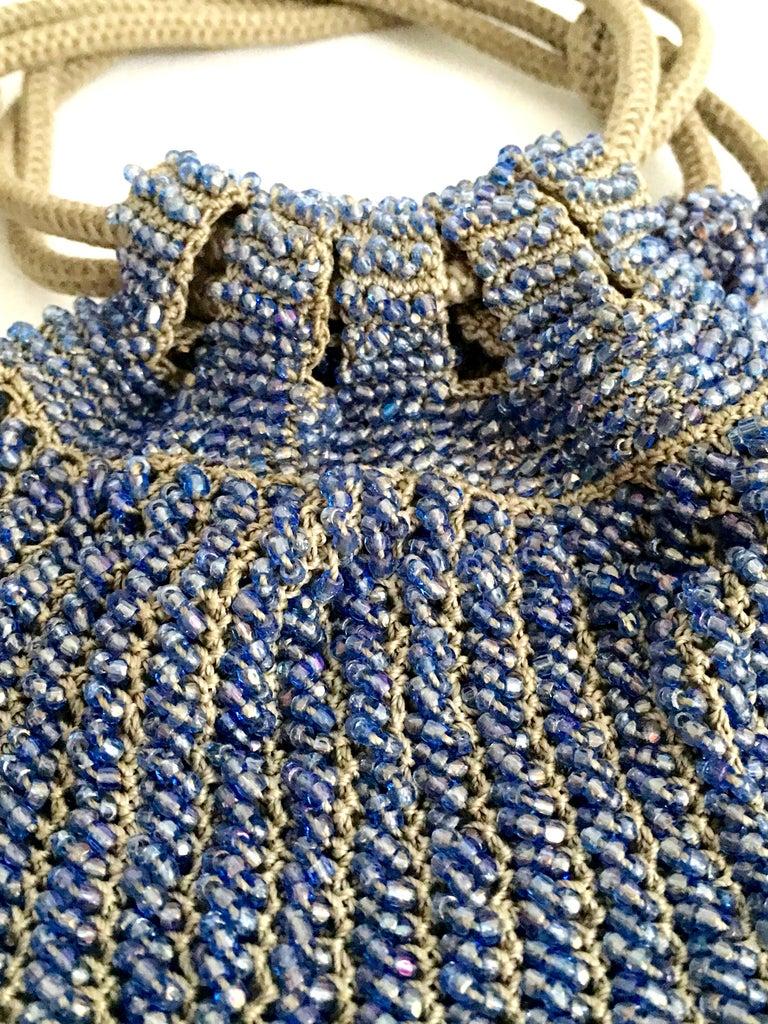 Antique Hand Cut Art Glass Bead Crochet Drawsting Evening Bag For Sale 2
