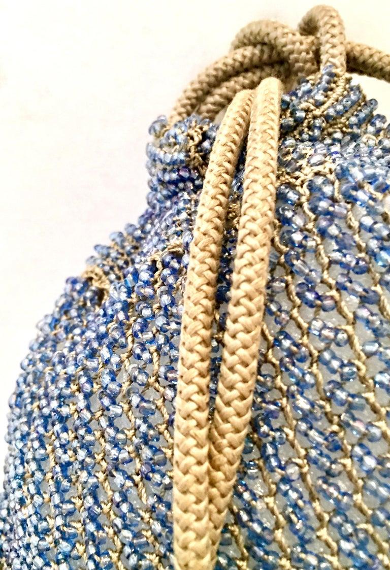 Antique Hand Cut Art Glass Bead Crochet Drawsting Evening Bag For Sale 3
