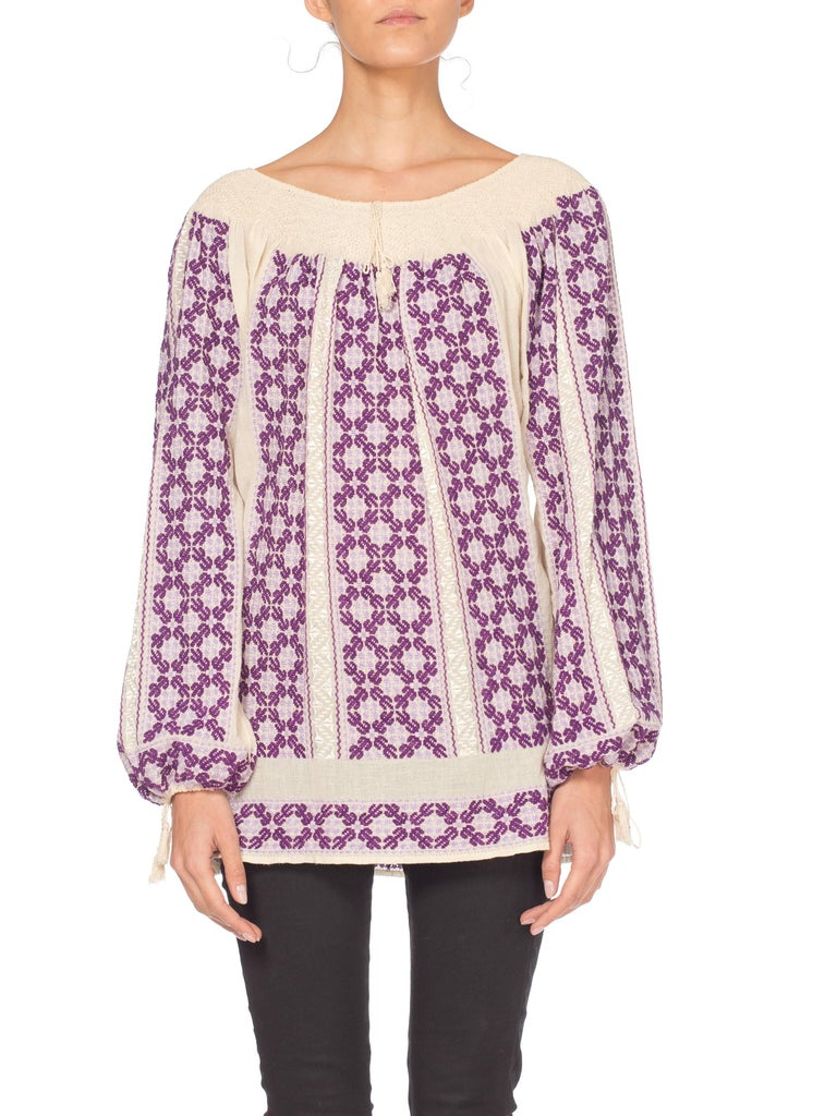 80/'s gauze black cotton embroidered hippie blouse
