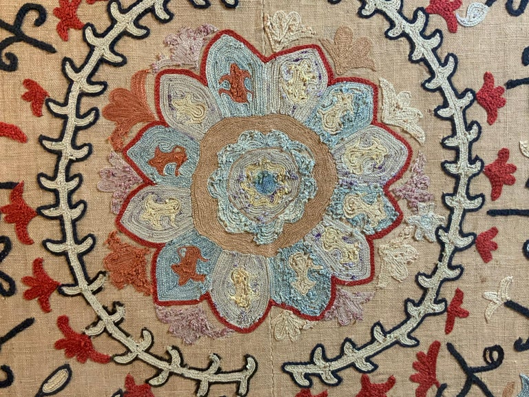Antique Hand Embroidered Suzani Textile Wall Hanging in Lucite Shadow Box For Sale 4