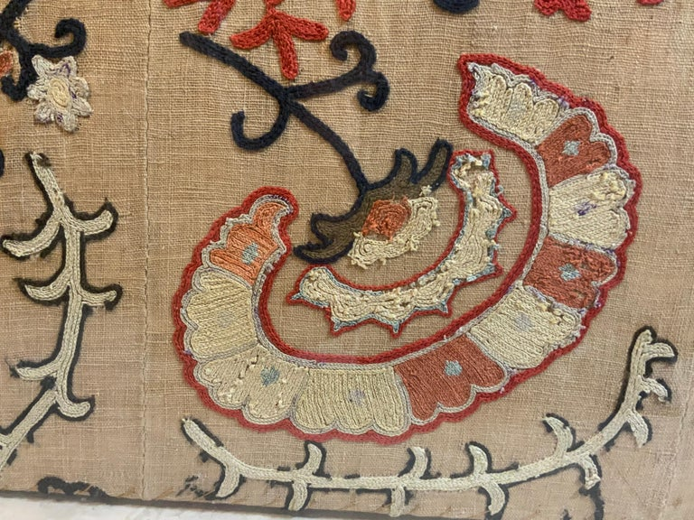 Antique Hand Embroidered Suzani Textile Wall Hanging in Lucite Shadow Box For Sale 6