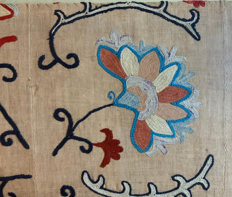Antique Hand Embroidered Suzani Textile Wall Hanging in Lucite Shadow Box For Sale 8