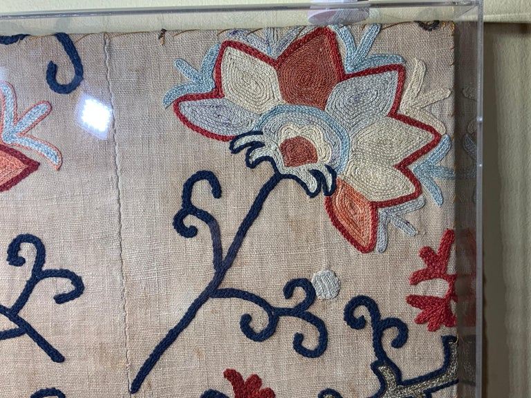 Antique Hand Embroidered Suzani Textile Wall Hanging in Lucite Shadow Box For Sale 10