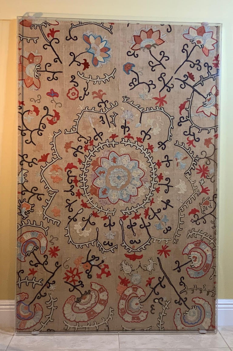 Antique Hand Embroidered Suzani Textile Wall Hanging in Lucite Shadow Box For Sale 12