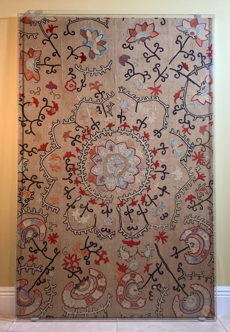 Uzbek Antique Hand Embroidered Suzani Textile Wall Hanging in Lucite Shadow Box For Sale