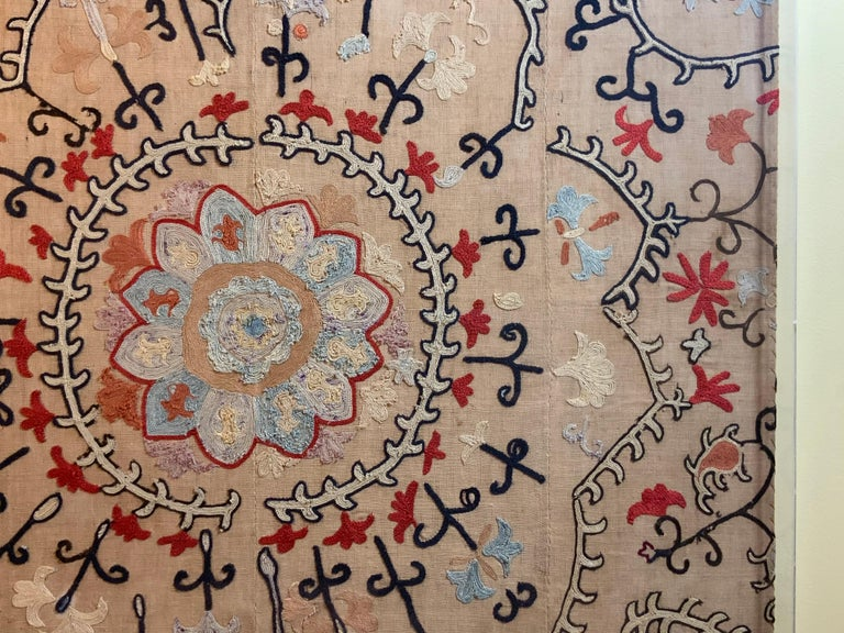 Early 20th Century Antique Hand Embroidered Suzani Textile Wall Hanging in Lucite Shadow Box For Sale