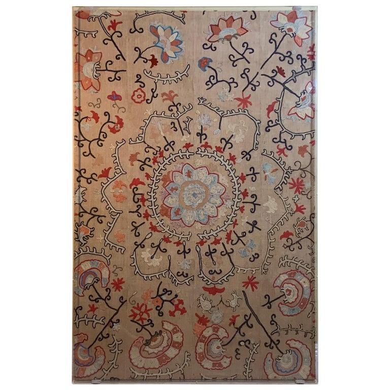 Antique Hand Embroidered Suzani Textile Wall Hanging in Lucite Shadow Box For Sale