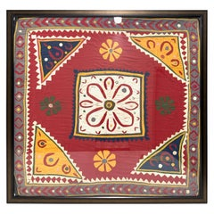 Antique Hand Embroidered Textile from India Framed