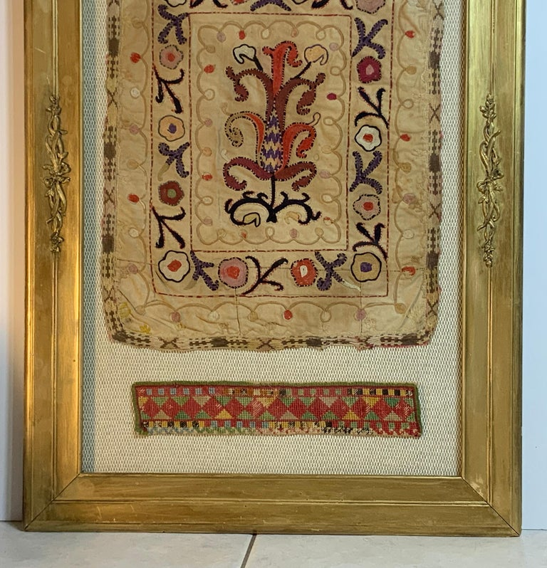 Antique Hand Embroidered Turkmen Suzani Sampler In Shadow Box For Sale 4
