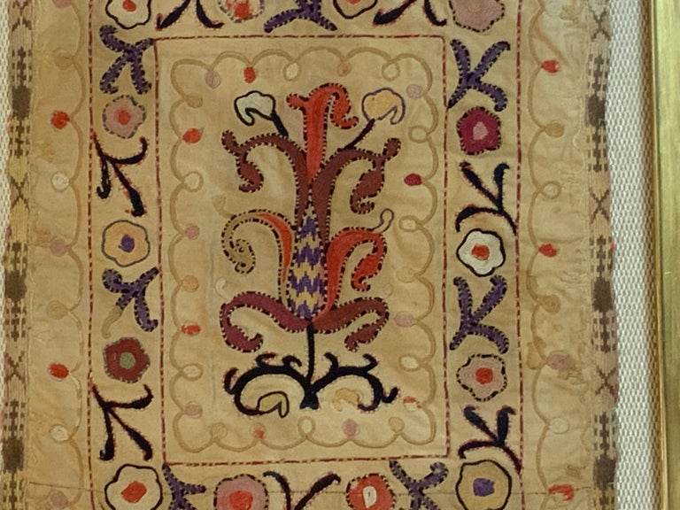 Antique Hand Embroidered Turkmen Suzani Sampler In Shadow Box For Sale 5