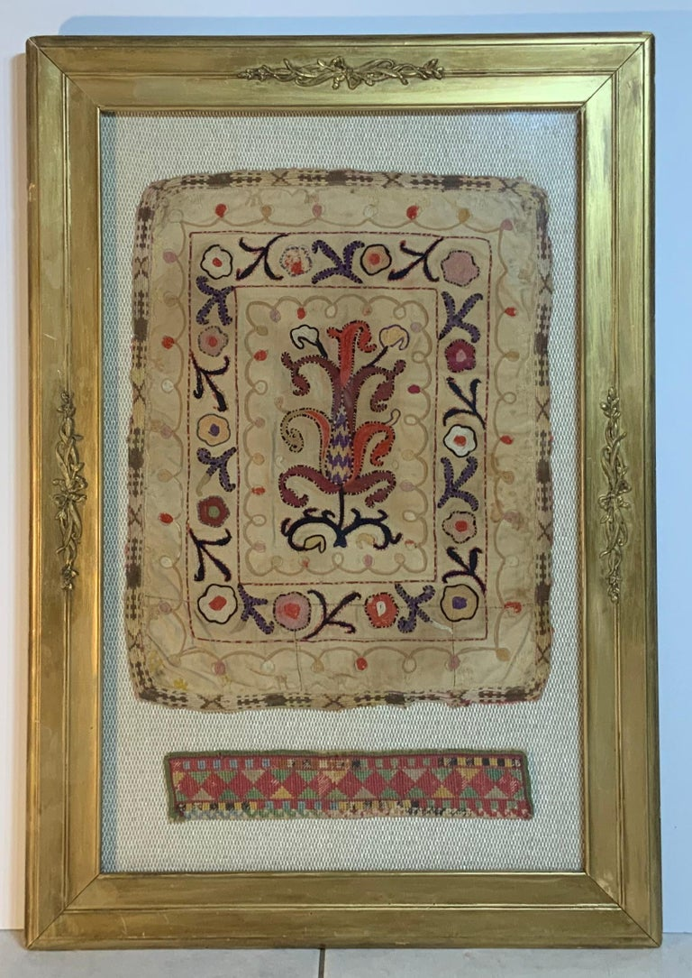Caucasian Antique Hand Embroidered Turkmen Suzani Sampler In Shadow Box For Sale