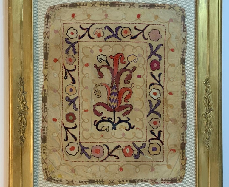 Antique Hand Embroidered Turkmen Suzani Sampler In Shadow Box In Good Condition For Sale In Delray Beach, FL