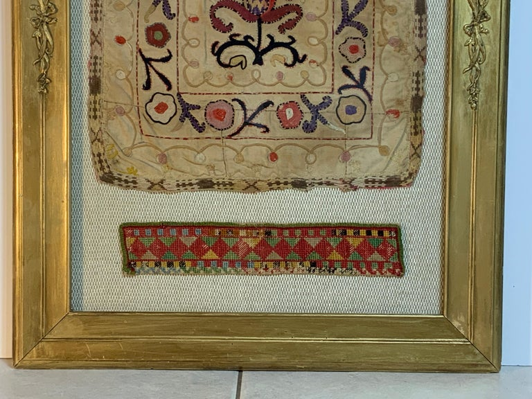 Early 20th Century Antique Hand Embroidered Turkmen Suzani Sampler In Shadow Box For Sale