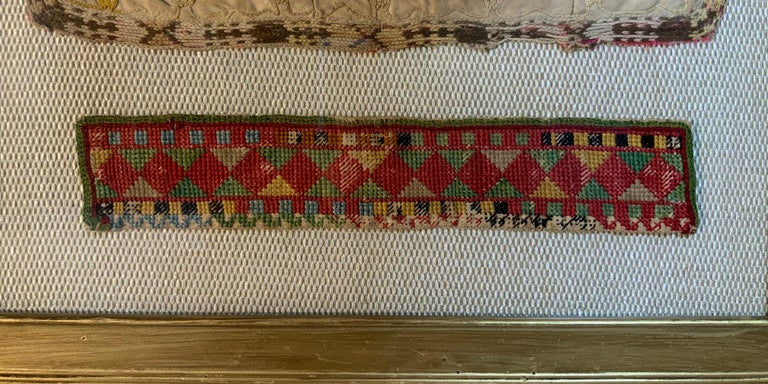 Cotton Antique Hand Embroidered Turkmen Suzani Sampler In Shadow Box For Sale