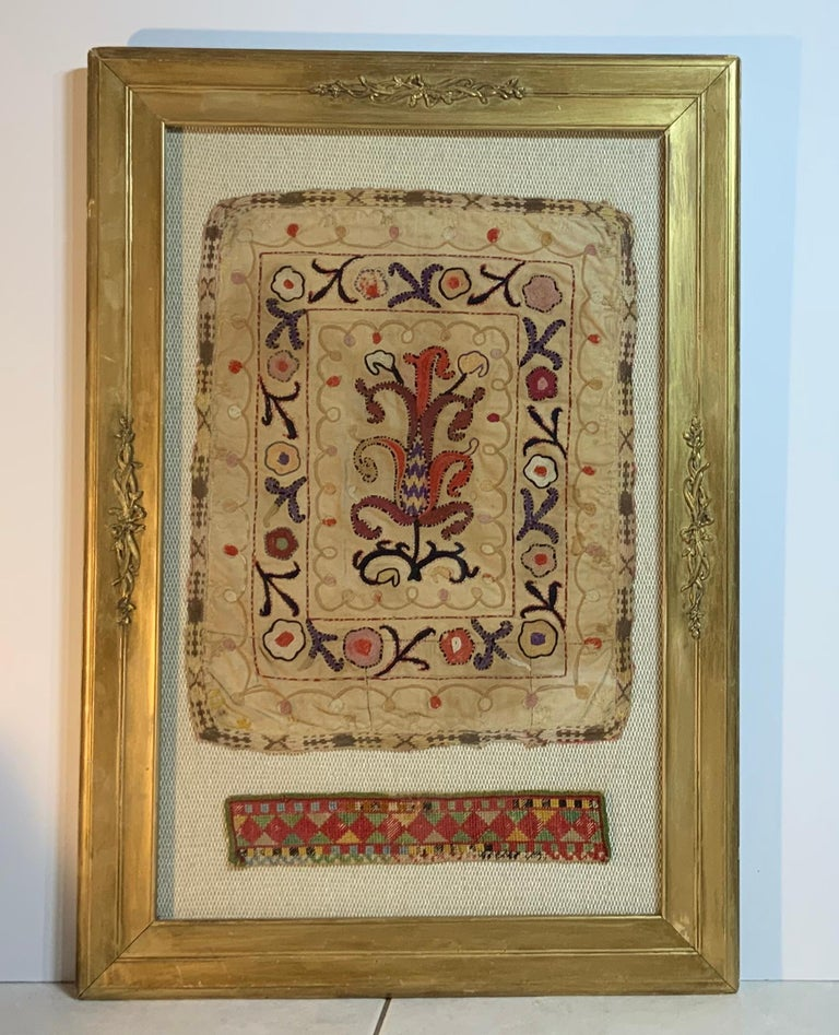 Antique Hand Embroidered Turkmen Suzani Sampler In Shadow Box For Sale 2