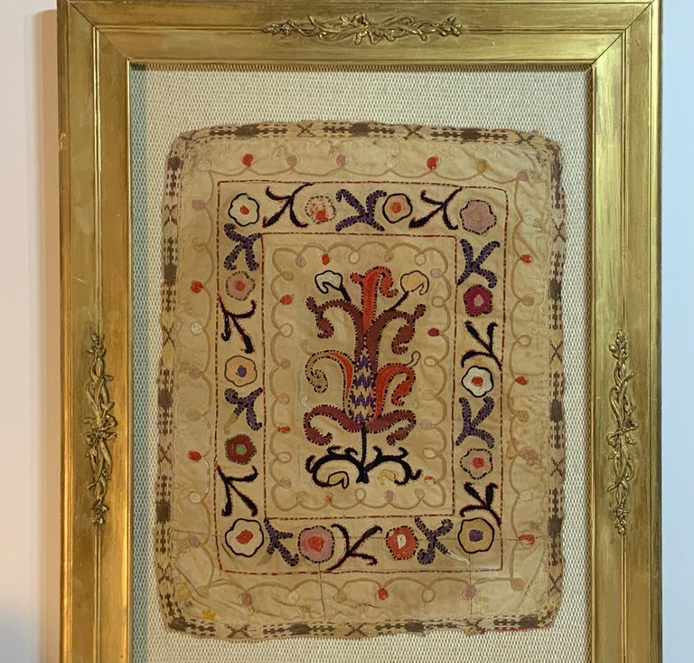 Antique Hand Embroidered Turkmen Suzani Sampler In Shadow Box For Sale 3
