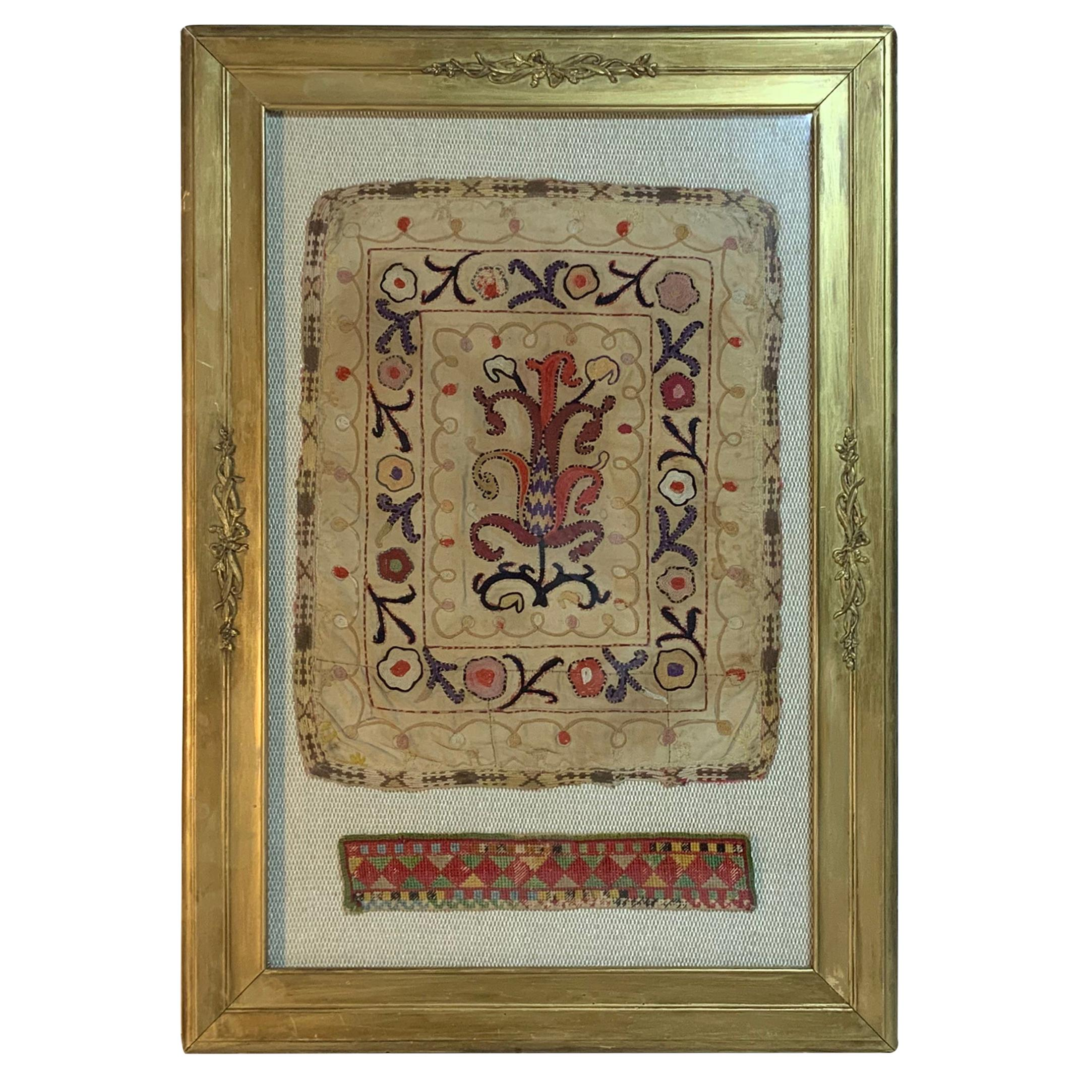 Antique Hand Embroidered Turkmen Suzani Sampler In Shadow Box
