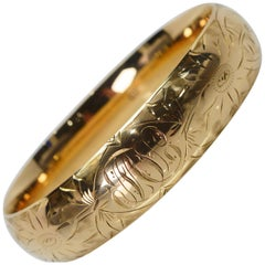 Antique Hand Engraved Yellow Gold Bangle Bracelet
