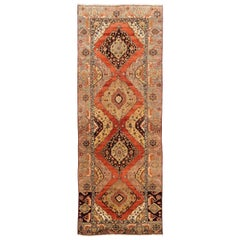 Antique Hand-Knotted Anatolian Oushak Runner, One of a Kind Wool Rug