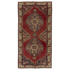 5.2x10.2 Ft Vintage Rug from a Turkish Village. 100% Soft Wool. Red, Gray, Beige