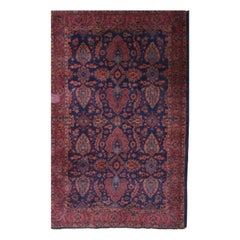 Antique Hand Knotted Sarouk School Persian Oriental Rug, circa 1930