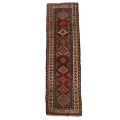 Antique Hand Knotted Wool Caucaian Kazak Tribal Persian Long Rug, circa 1910