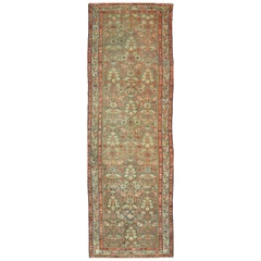 Antique Hand Knotted Wool Persian Malayer Runner Rug