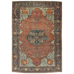 Antique Hand-Knotted Wool Persian Sarouk Farahan Rug