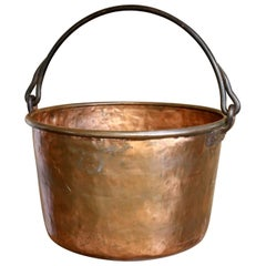 Antique, Handmade Copper Apple Butter Kettle with Forged Iron Handle