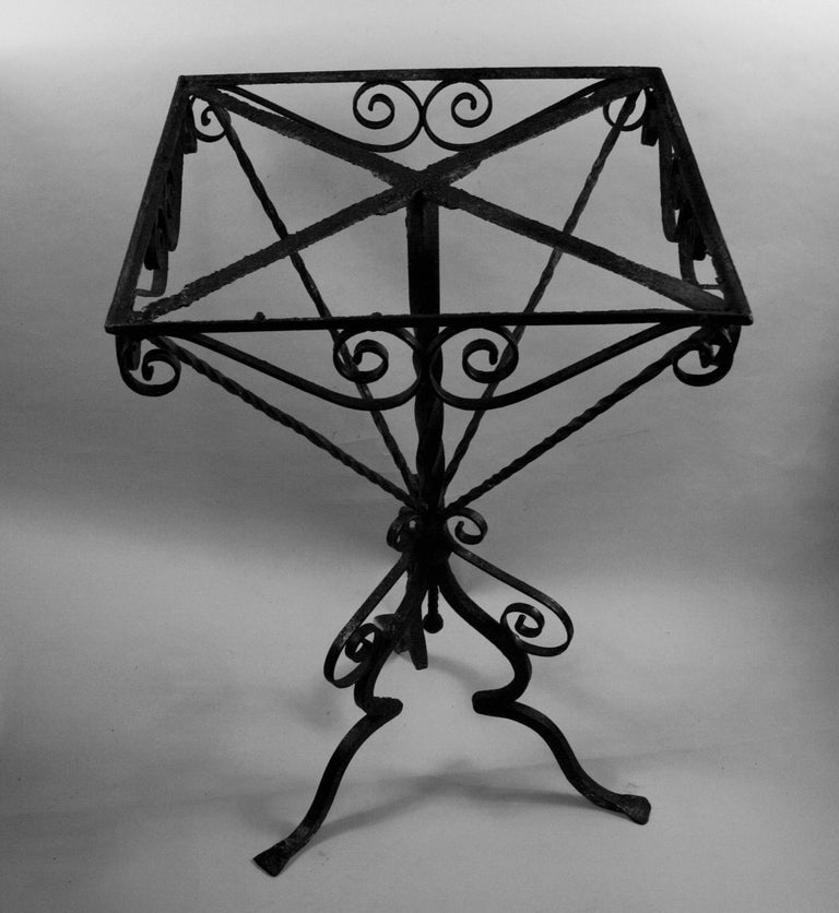 Antique Hand Made Iron Base Table with Marble Top For Sale 8