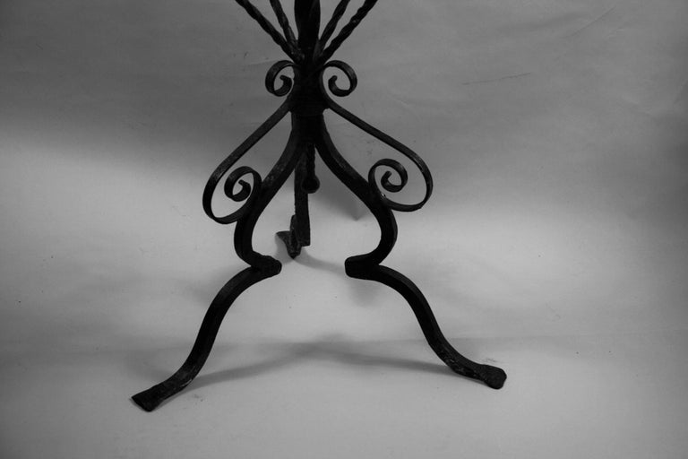 Antique Hand Made Iron Base Table with Marble Top For Sale 9