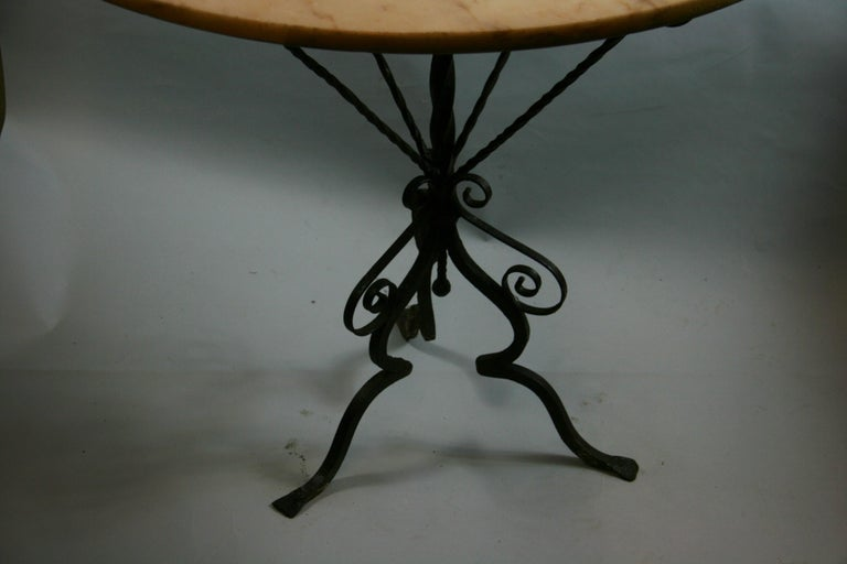 Antique Hand Made Iron Base Table with Marble Top In Good Condition For Sale In Douglas Manor, NY