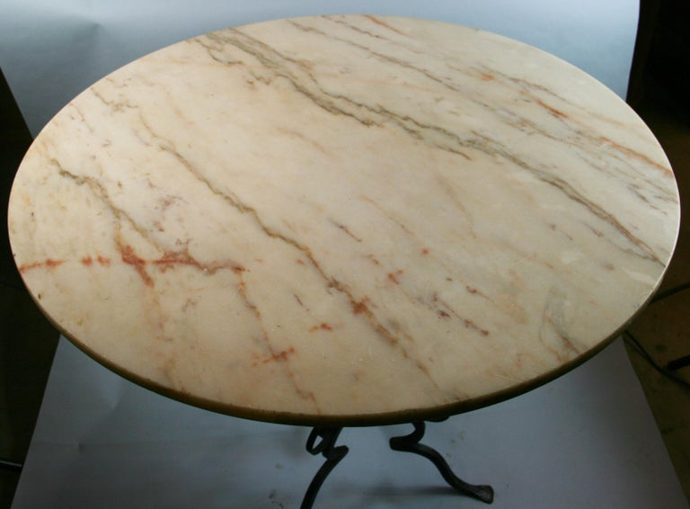 Early 20th Century Antique Hand Made Iron Base Table with Marble Top For Sale