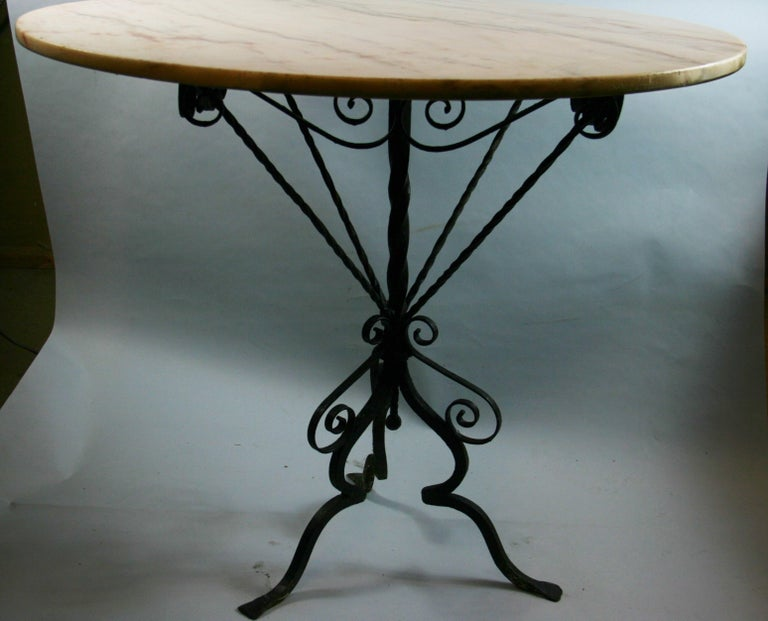Antique Hand Made Iron Base Table with Marble Top For Sale 5