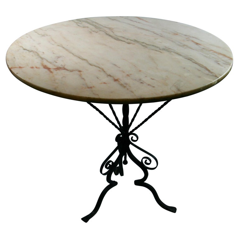Antique Hand Made Iron Base Table with Marble Top For Sale