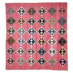 """Antique Hand Made Multicolored Cotton Patchwork """"Fox & Geese"""" Quilt, USA, 1880's"""