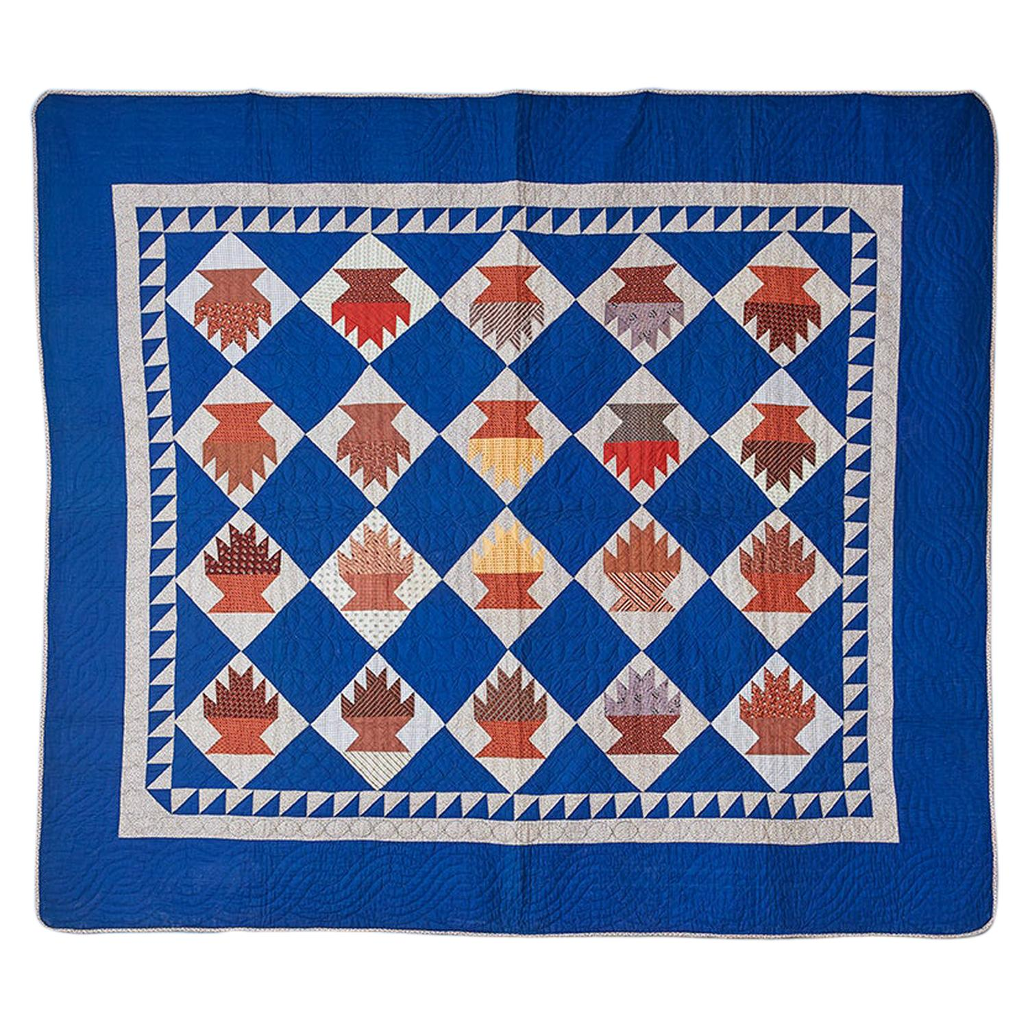 """Antique Hand Made Patchwork """"Baskets Cake Stand"""" Quilt in Blue, USA, 1870s"""