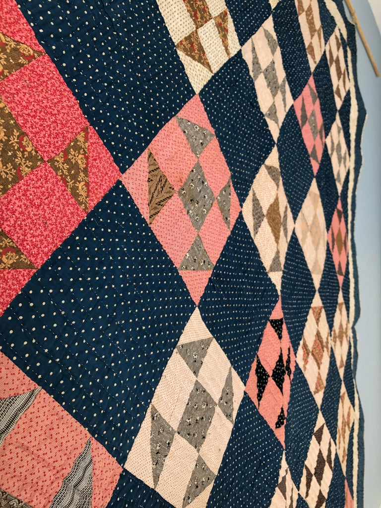 Late 19th Century Antique Handmade Patchwork Quilt in Blue, White and Pink, USA, 1880s For Sale