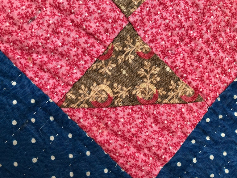 Antique Handmade Patchwork Quilt in Blue, White and Pink, USA, 1880s For Sale 1