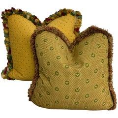 Antique Handmade Pillows Gold and Green / a pair