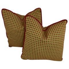Antique Handmade Pillows Raspberry and Lime, a Pair