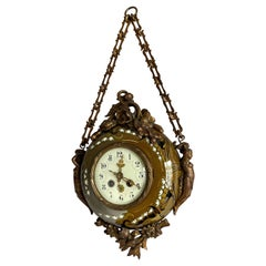 Antique & Hand Painted Arts & Crafts Majolica Wall Clock with Enameled Dial Face