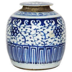 Antique Hand Painted Blue and White Chinese Ginger Jar