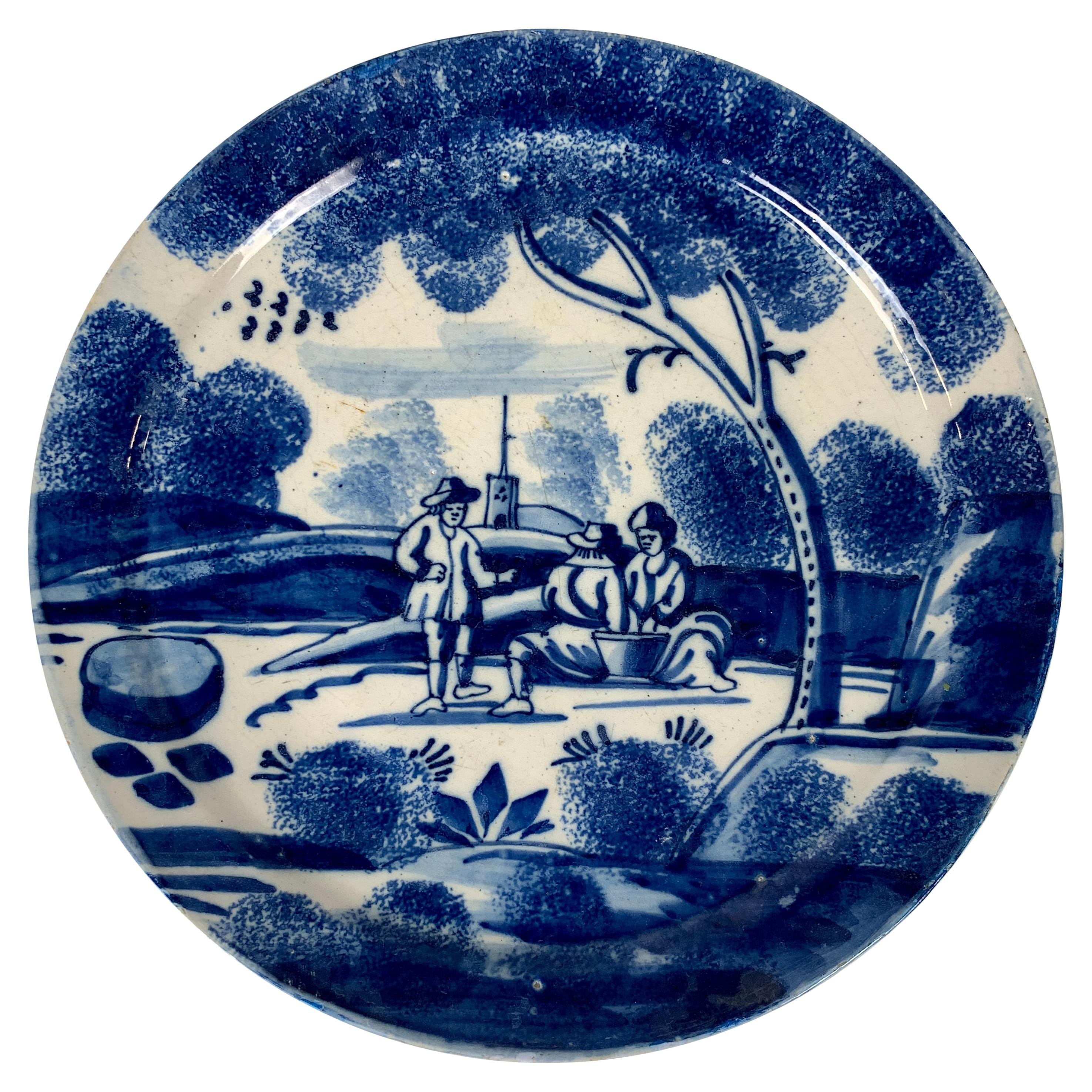 Antique Hand-Painted Blue and White Dutch Delft Dish Made 18th Century c-1730-40