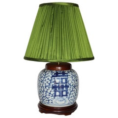 Antique Hand-Painted Blue and White Ginger Jar Lamp with Handmade Silk Shade